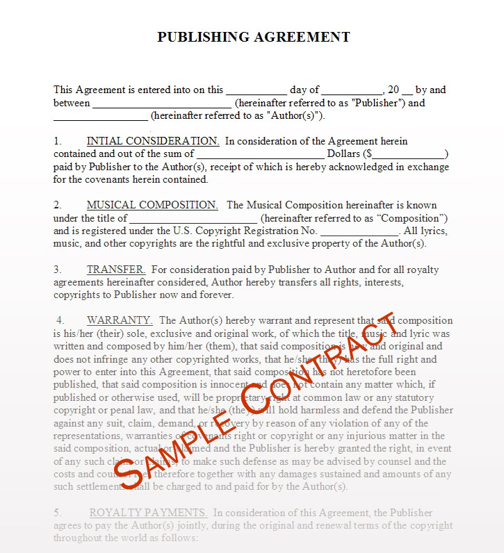 Music contracts download for Musicians contract template